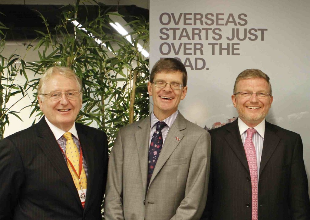 Gaunt and Spurling with Rafe Courage at the opening of the British Business Centre in Istanbul 20 August 2014