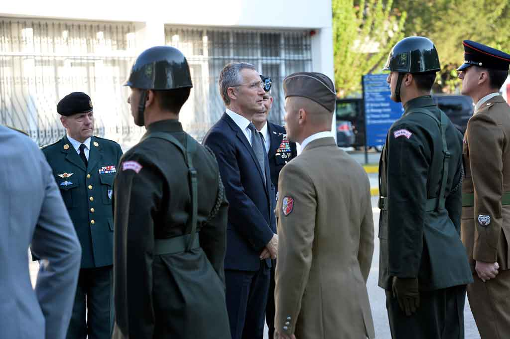 NATO Secretary General Jens Stoltenberg inspects the honour guard at LANDCOM, Izmir, 21 April 2015