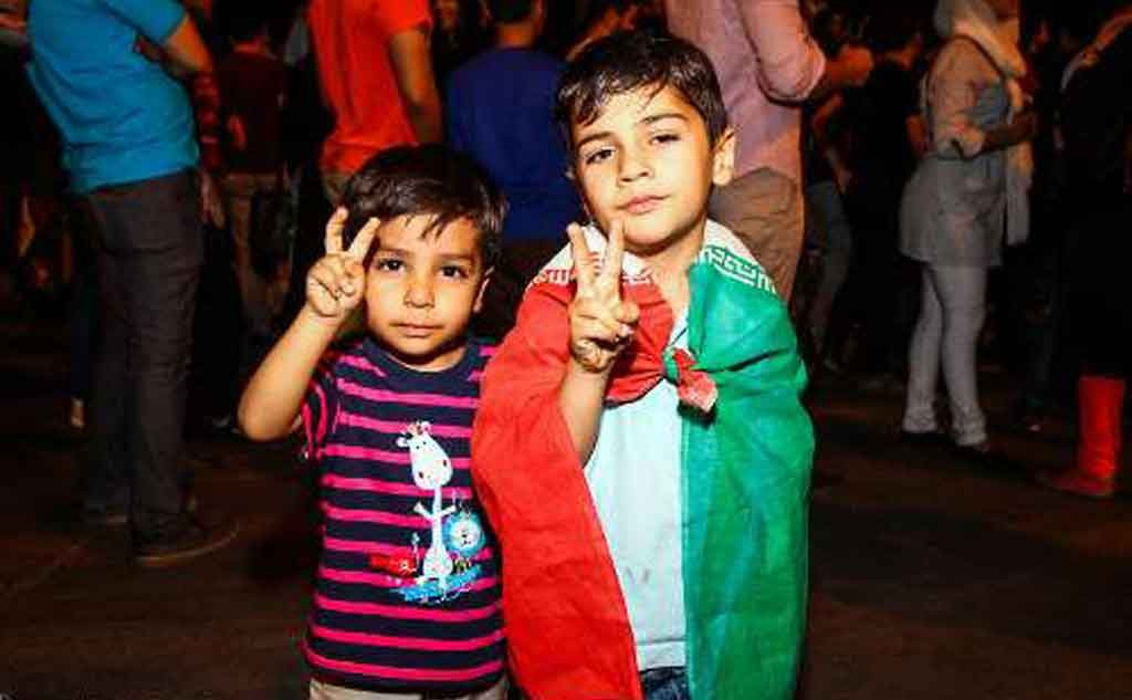 Children among thousands who poured into Tehran streets 15 July 2015 to welcome the six-power nuclear deal. Photo: IRNA
