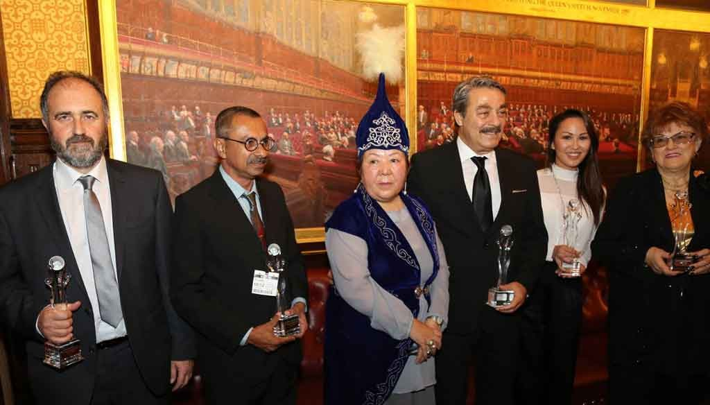 Aitmatov Academy Award winners with Dr Rahima Abduvalieva (centre). From left: Professor G Tsironis on behalf of Greece; Chulananda Samaranayake; Dr Abduvalieva; Kadir Inanir; Alma Sydykova on behalf of Professor Yerlan Sydykov, and Professor Ludmila Vetbitskaya